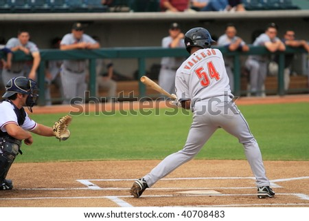 PHOENIX, AZ - NOVEMBER 4: Switch-hitter Jose Vallejo, a top prospect for the Houston Astros, bats for the Peoria Saguaros of the Arizona Fall League Nov. 4, 2009 at Phoenix Municipal Stadium, Arizona.