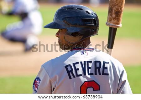 PHOENIX, AZ - OCTOBER 19: Ben Revere, a top Minnesota Twins prospect, waits in the on-deck circle before batting in an Arizona Fall League game Oct. 19, 2010 at Phoenix Municipal Stadium, Arizona. - stock photo