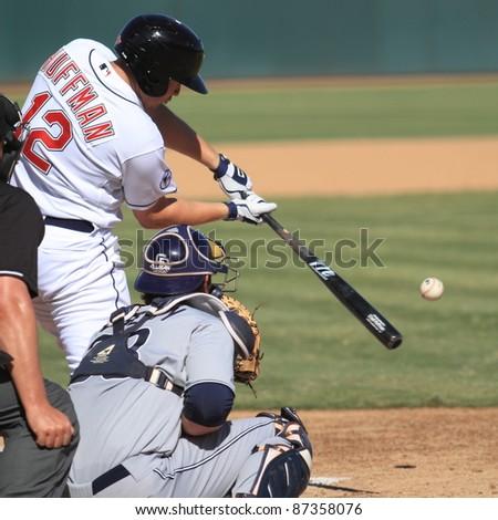 PHOENIX, AZ - OCTOBER 19: Chad Huffman, a Cleveland Indians prospect, bats for the Phoenix Desert Dogs in an Arizona Fall League game on Oct. 19, 2011 at Phoenix Municipal Stadium, Phoenix, AZ. Huffman went 0-for-4. - stock photo
