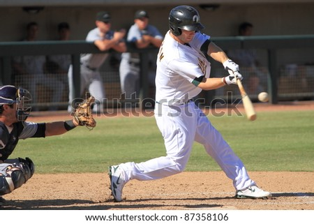 PHOENIX, AZ - OCTOBER 19: Dusty Coleman, an Oakland A's infield prospect, bats for the Phoenix Desert Dogs in the Arizona Fall League on Oct. 19, 2011 at Phoenix Municipal Stadium, Phoenix, AZ. Coleman went 0-for-4.