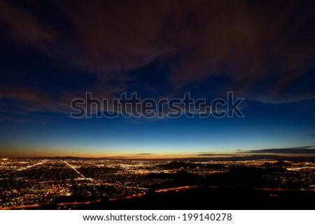 Phoenix city lights at dusk - stock photo