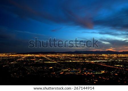 Phoenix city lights at dusk - April/Five/Twenty-Fifteen - stock photo