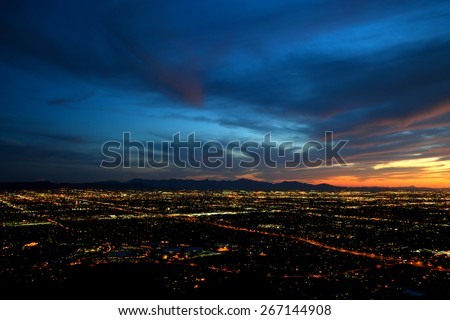 Phoenix city lights at dusk (high contrast version) - stock photo