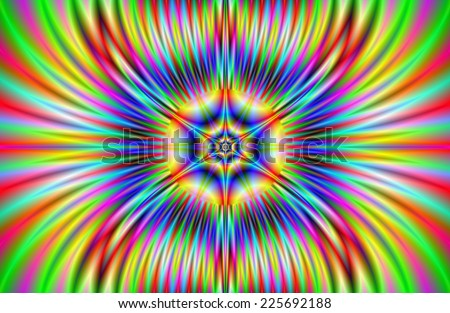 Phoenix Star / A digital abstract fractal image with a flaming star design in yellow, red, blue and green. - stock photo