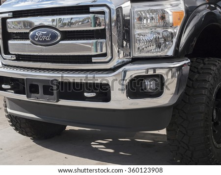 Phoenix, USA - January 08, 2015: close up of Ford F-350 pick-up truck.