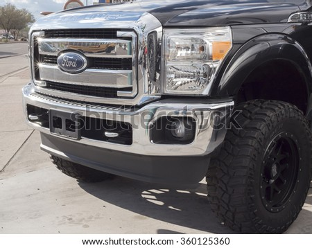 Phoenix, USA - January 08, 2015: close up of Ford F350 pick-up truck.