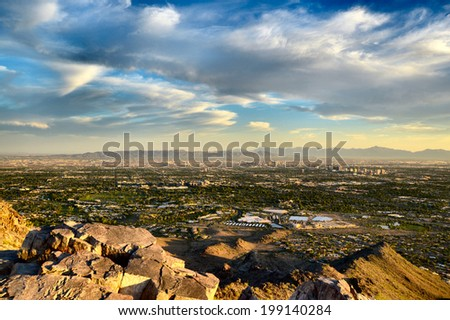 Phoenix view of city and mountains - stock photo