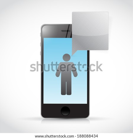 phone and avatar and message cloud illustration design over a white background - stock photo