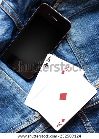 phone and cards - stock photo