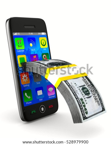 phone and cash on white background. Isolated 3d image