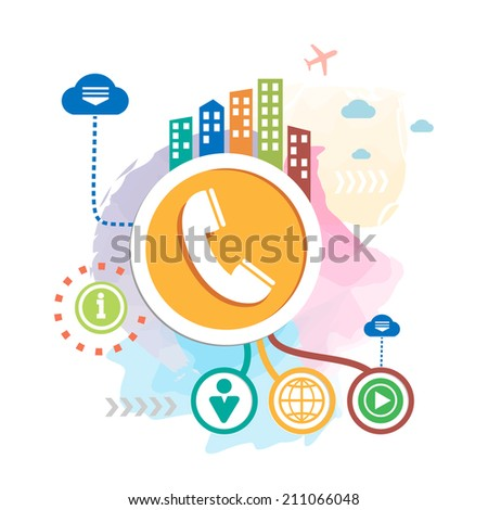 Phone and city on abstract background. Raster version for the web, print, advertising. - stock photo