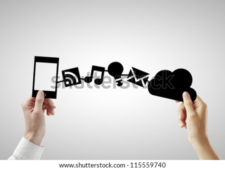 phone and cloud on a white background - stock photo