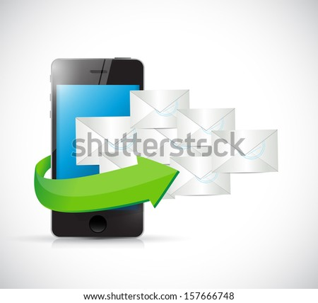 phone and emails illustration design over a white background - stock photo