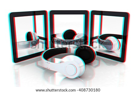 phone and headphones on a white background. 3D illustration. Anaglyph. View with red/cyan glasses to see in 3D. - stock photo