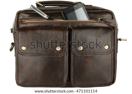 Phone and pen sticking out of his pocket brown leather briefcase, isolated on a white background