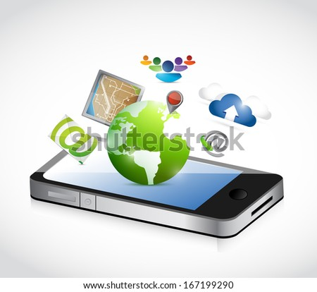 phone and set of apps illustration design over a white background