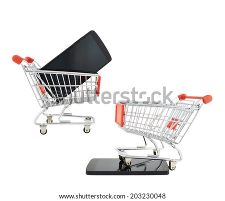 Phone and shopping cart compositions, isolated over the white background