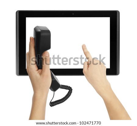phone and tablet computer isolated in a hand on the white backgrounds. - stock photo
