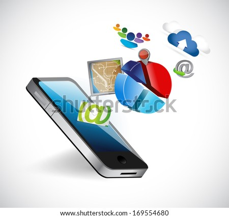 phone apps icons illustration design over a white background