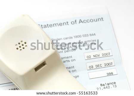 phone bill statement of accounts - stock photo