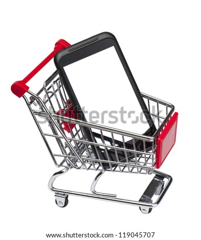 Phone blank screen on market cart.  Isolated on white background with clipping path.