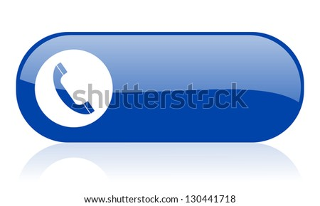 phone blue web glossy icon - stock photo