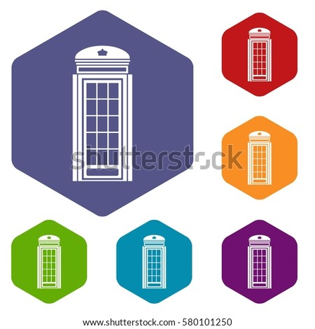 phone booth icons set rhombus different stock illustration 580101250 rh shutterstock com