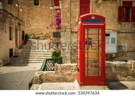 phone booth in the capital of Malta,  Valletta - stock photo