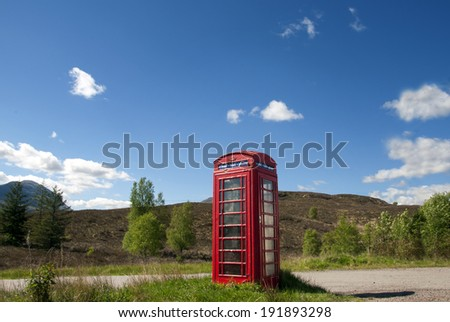 Phone Booth in the Highlands - stock photo