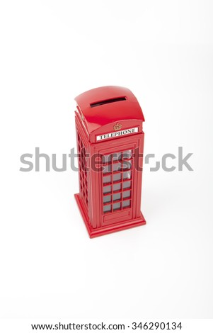 Phone Booth Money Box Spend or Save - stock photo