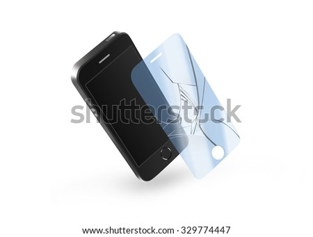 Phone broken protection glass with screen. Smartphone display protector crack. Mock up protected from damage protective film. Safety, clear, insure from scratch. Protect from crash presentation.