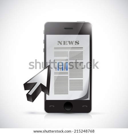 phone business news illustration design over a white background - stock photo