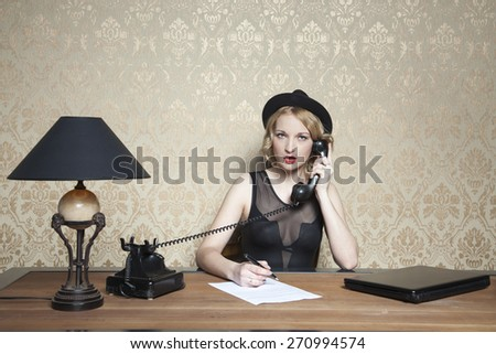 phone call at work - stock photo
