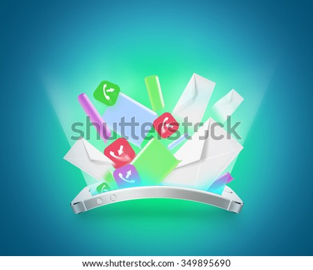 Phone communication illustration. Smartphone inbox message, mail, text, sms, e-mail, call. Web marketing design. Missed calls. Busy phone overload. Cellphone relation. Online chat. Social apps device. - stock photo