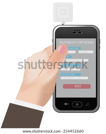 Phone, credit, card, reader, clip art - stock photo