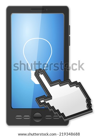 Phone, cursor and bulb symbol on a white background. - stock photo