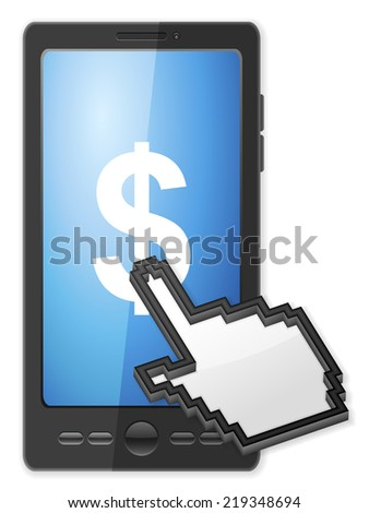 Phone, cursor and dollar symbol on a white background. - stock photo