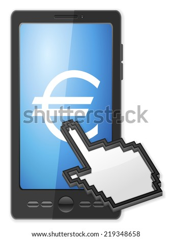 Phone, cursor and euro symbol on a white background. - stock photo