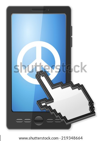 Phone, cursor and peace symbol on a white background. - stock photo