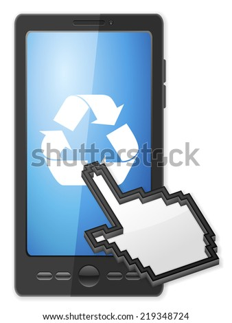Phone, cursor and recycle symbol on a white background. - stock photo