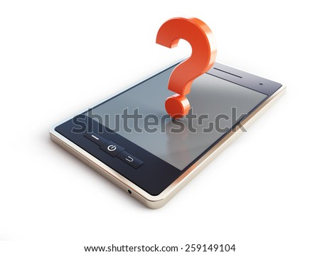 phone danger to health a question mark 3d illustrations on a white background - stock photo