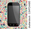 Phone generic on color icons background. - stock vector