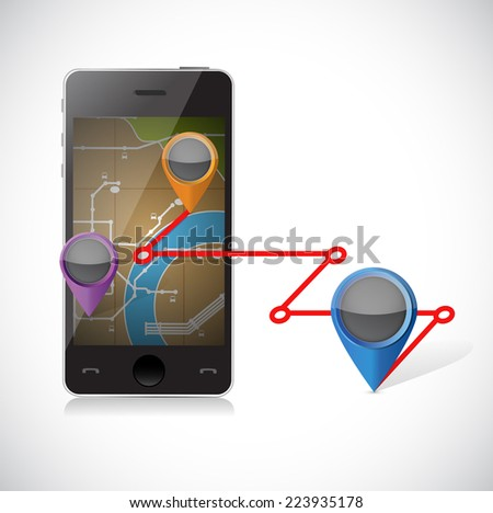 phone gps and locations illustration design over a white background
