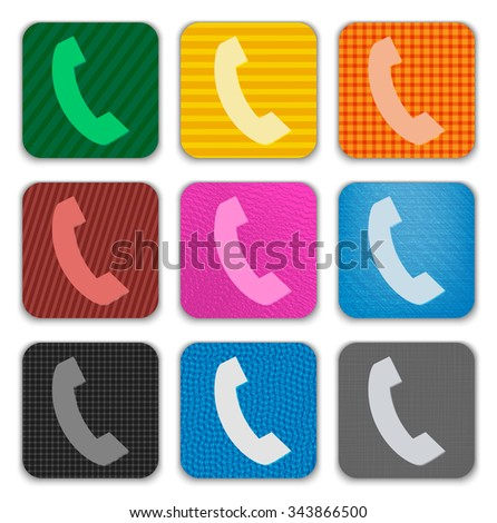 Phone Handset sign on colorful textured app icons - stock photo