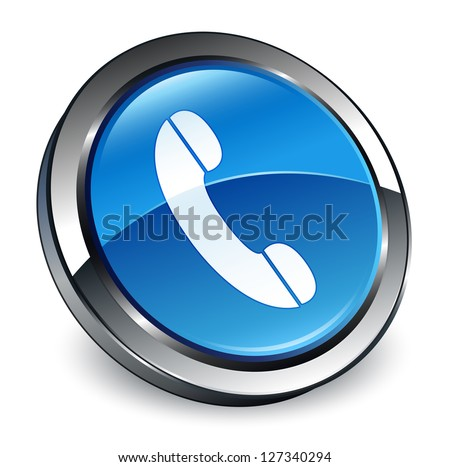 Phone icon 3d blue button - stock photo