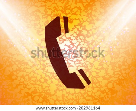 phone icon Flat with abstract background. - stock photo