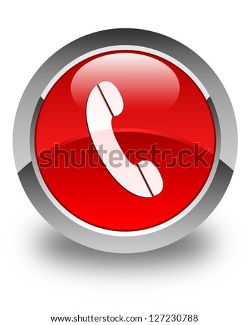 Phone icon on glossy red round button - stock photo