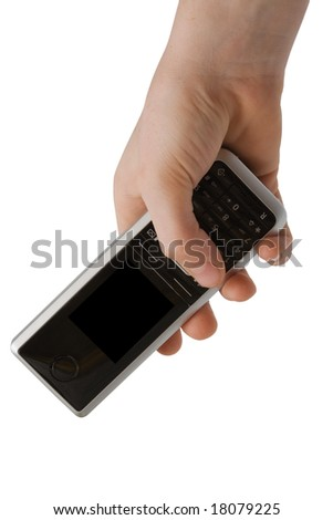 Phone in a hand on a white background