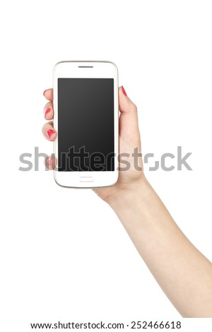 Phone in hand girl. White screen smartphone isolated on white background. On hand of the girl bright red manicure.