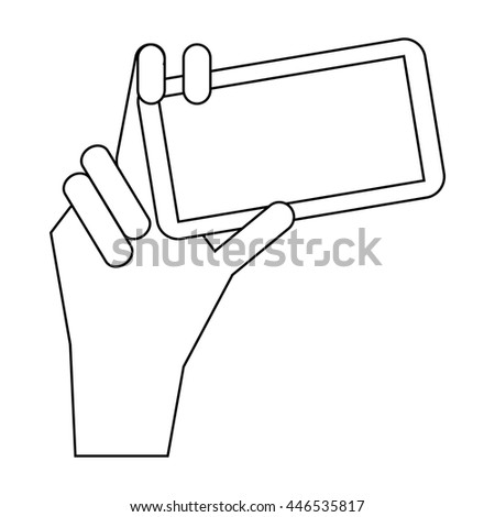 Phone in hand icon in outline style isolated on white background. Communication symbol